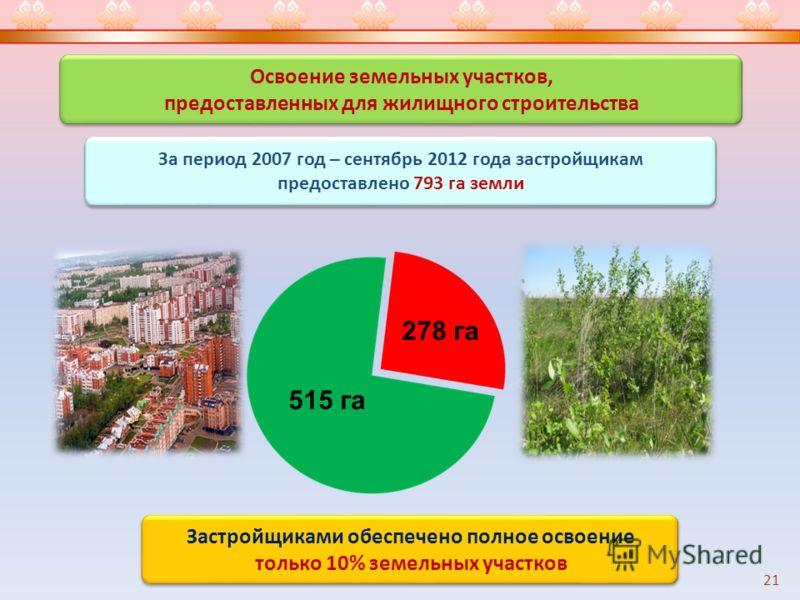 Освоение земельных участков, предоставленных для жилищного строительства Освоение земельных участков, предоставленных для жилищного строительства 21 Застройщиками обеспечено полное освоение только 10% земельных участков Застройщиками обеспечено полно