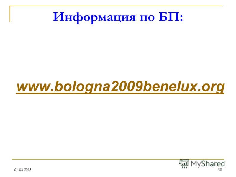 01.03.201358 Информация по БП: www.bologna2009benelux.org