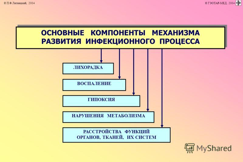 ОСНОВНЫЕ КОМПОНЕНТЫ МЕХАНИЗМА РАЗВИТИЯ ИНФЕКЦИОННОГО ПРОЦЕССА ОСНОВНЫЕ КОМПОНЕНТЫ МЕХАНИЗМА РАЗВИТИЯ ИНФЕКЦИОННОГО ПРОЦЕССА ЛИХОРАДКА ГИПОКСИЯ ВОСПАЛЕНИЕ РАССТРОЙСТВА ФУНКЦИЙ ОРГАНОВ, ТКАНЕЙ, ИХ СИСТЕМ НАРУШЕНИЯ МЕТАБОЛИЗМА © П.Ф.Литвицкий, 2004 © ГЭ