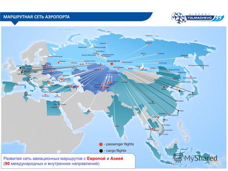 МАРШРУТНАЯ СЕТЬ АЭРОПОРТА Развитая сеть авиационных маршрутов с Европой и Азией (90 международных и внутренних направлений)