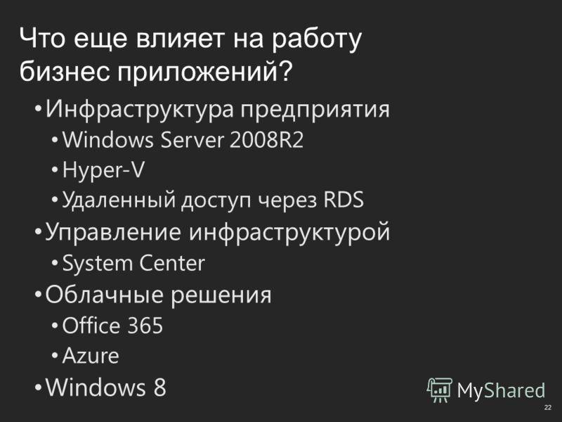 Что еще влияет на работу бизнес приложений? Инфраструктура предприятия Windows Server 2008R2 Hyper-V Удаленный доступ через RDS Управление инфраструктурой System Center Облачные решения Office 365 Azure Windows 8 22