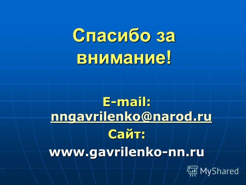 Спасибо за внимание! E-mail: nngavrilenko@narod.ru nngavrilenko@narod.ru Сайт:www.gavrilenko-nn.ru