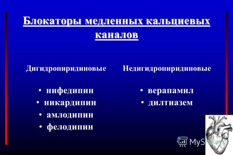 Блокаторы медленных кальциевых каналов Дигидропиридиновые нифедипин никардипин амлодипин фелодипин Недигидропиридиновые верапамил дилтиазем