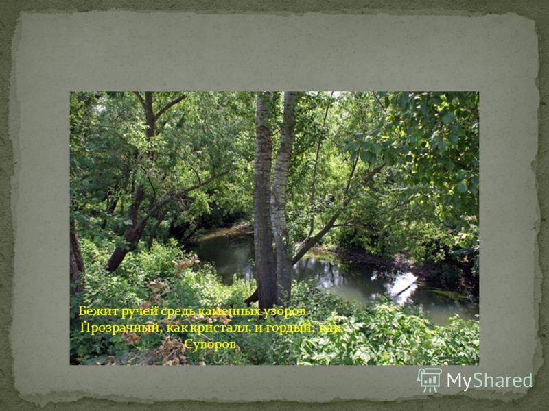 Бежит ручей средь каменных узоров Прозрачный, как кристалл, и гордый, как Суворов