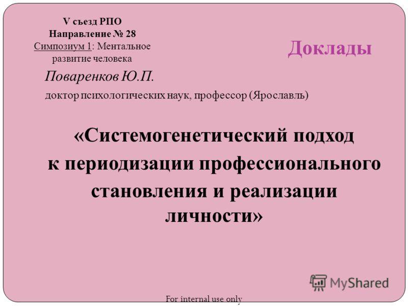 Доклады Поваренков Ю.П. доктор психологических наук, профессор (Ярославль) «Системогенетический подход к периодизации профессионального становления и реализации личности» V съезд РПО Направление 28 Симпозиум 1: Ментальное развитие человека