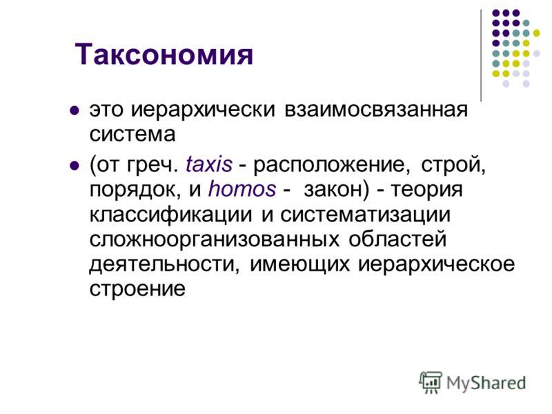 Таксономия это иерархически взаимосвязанная система (от греч. taxis - расположение, строй, порядок, и homos - закон) - теория классификации и систематизации сложноорганизованных областей деятельности, имеющих иерархическое строение