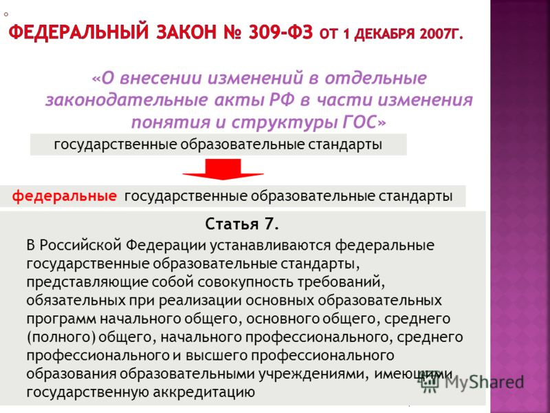 1 Статья 7. В Российской Федерации устанавливаются федеральные государственные образовательные стандарты, представляющие собой совокупность требований, обязательных при реализации основных образовательных программ начального общего, основного общего,