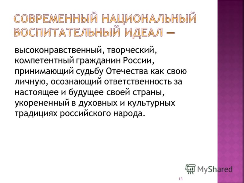 высоконравственный, творческий, компетентный гражданин России, принимающий судьбу Отечества как свою личную, осознающий ответственность за настоящее и будущее своей страны, укорененный в духовных и культурных традициях российского народа. 13