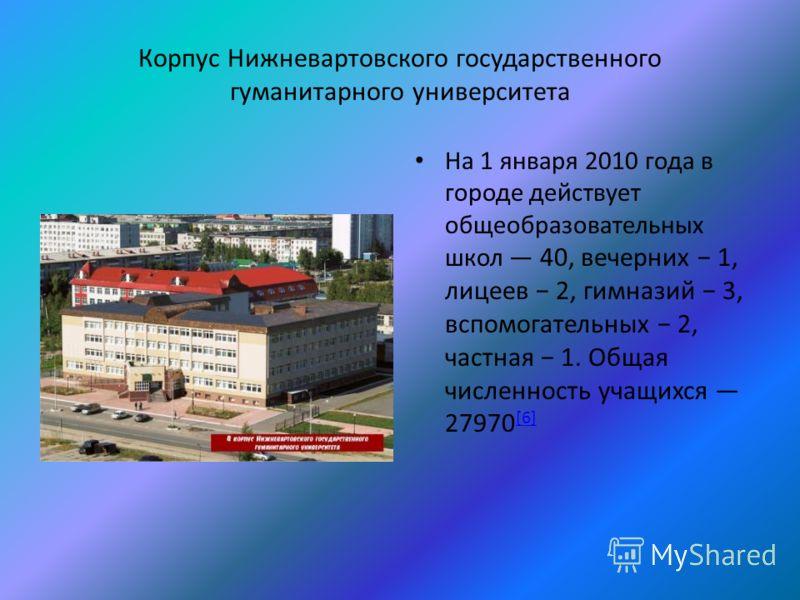 Корпус Нижневартовского государственного гуманитарного университета На 1 января 2010 года в городе действует общеобразовательных школ 40, вечерних 1, лицеев 2, гимназий 3, вспомогательных 2, частная 1. Общая численность учащихся 27970 [6] [6]