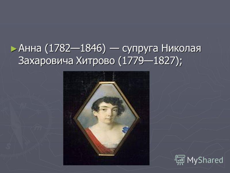 Анна (17821846) супруга Николая Захаровича Хитрово (17791827);