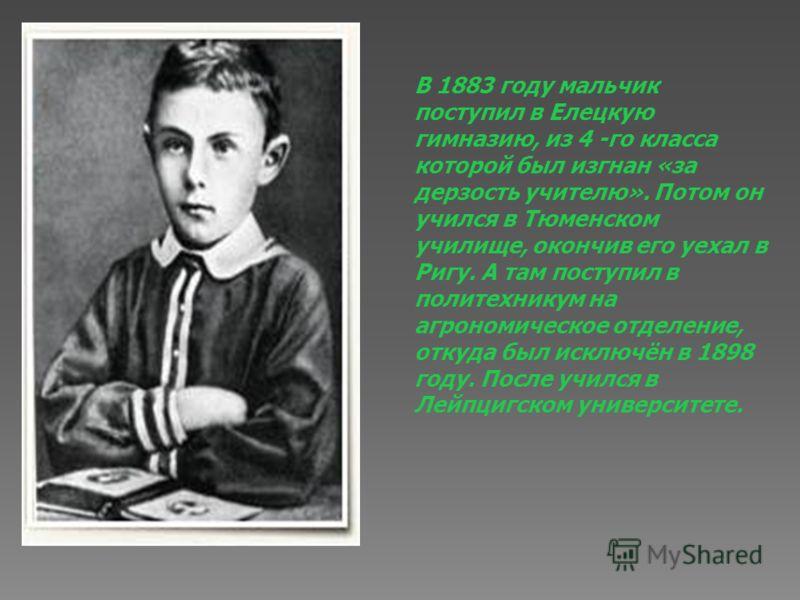 В 1883 году мальчик поступил в Елецкую гимназию, из 4 -го класса которой был изгнан «за дерзость учителю». Потом он учился в Тюменском училище, окончив его уехал в Ригу. А там поступил в политехникум на агрономическое отделение, откуда был исключён в