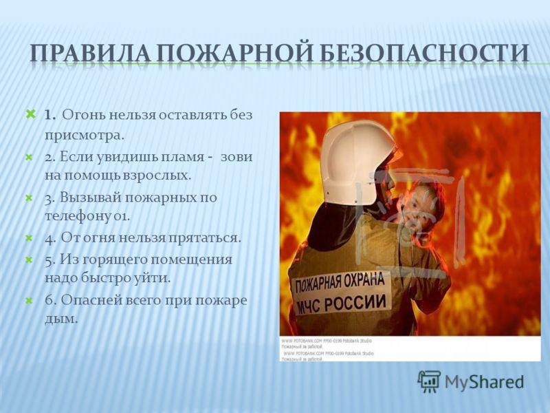 1. Огонь нельзя оставлять без присмотра. 2. Если увидишь пламя - зови на помощь взрослых. 3. Вызывай пожарных по телефону 01. 4. От огня нельзя прятаться. 5. Из горящего помещения надо быстро уйти. 6. Опасней всего при пожаре дым.