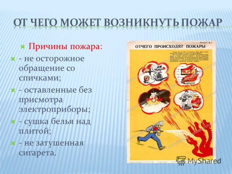 Причины пожара: - не осторожное обращение со спичками; - оставленные без присмотра электроприборы; - сушка белья над плитой; - не затушенная сигарета.