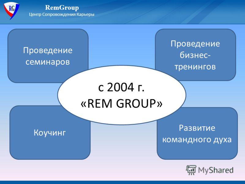 RemGroup Центр Сопровождения Карьеры Проведение бизнес- тренингов Коучинг Развитие командного духа Проведение семинаров с 2004 г. «REM GROUP»