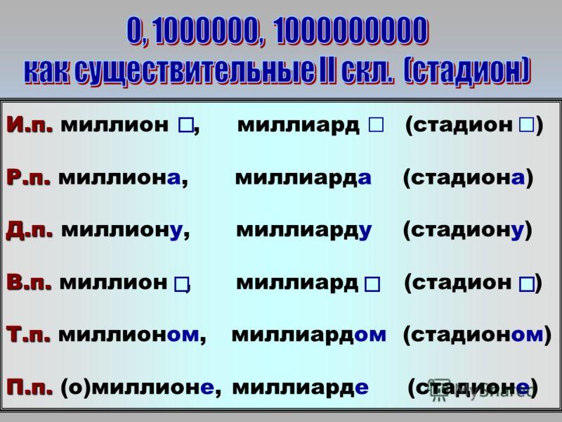 И.п. И.п. миллион, миллиард (стадион ) Р.п. Р.п. миллиона, миллиарда (стадиона) Д.п. Д.п. миллиону, миллиарду (стадиону) В.п. В.п. миллион, миллиард (стадион ) Т.п. Т.п. миллионом, миллиардом (стадионом) П.п. П.п. (о)миллионе, миллиарде (стадионе)