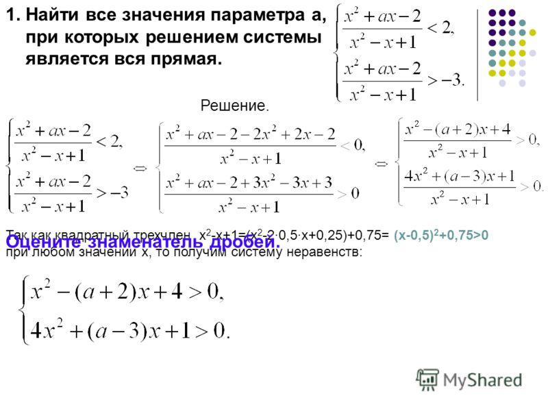 1. Найти все значения параметра а, при которых решением системы является вся прямая. Решение. Так как квадратный трехчлен х 2 -х+1=(х 2 -2·0,5·х+0,25)+0,75= (х-0,5) 2 +0,75>0 при любом значении х, то получим систему неравенств: Оцените знаменатель др