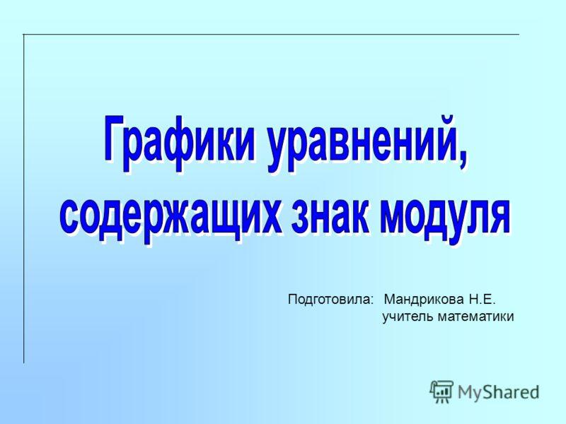 Подготовила: Мандрикова Н.Е. учитель математики