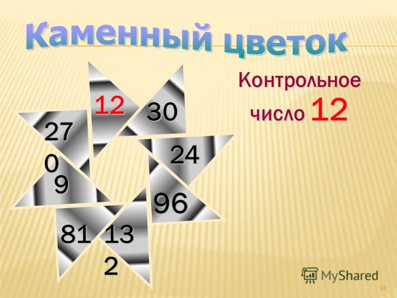 14 Контрольное число 12 27 0 30 9 81 12 96 13 2 24