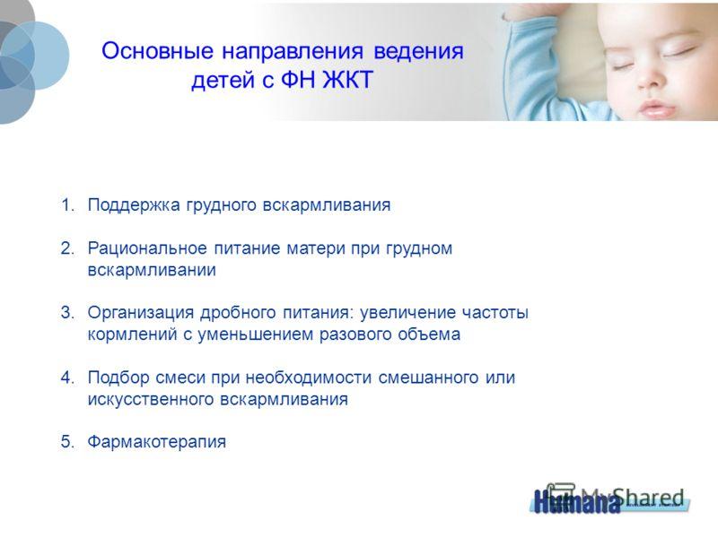 Основные направления ведения детей с ФН ЖКТ 1. Поддержка грудного вскармливания 2.Рациональное питание матери при грудном вскармливании 3. Организация дробного питания: увеличение частоты кормлений с уменьшением разового объема 4. Подбор смеси при не