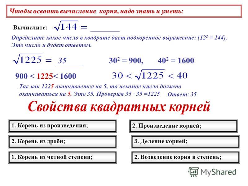 Чтобы освоить вычисление корня, надо знать и уметь: Вычислите: Определите какое число в квадрате дает подкоренное выражение: (12 2 = 144). Это число и будет ответом. 30 2 = 900, 40 2 = 1600 900 < 1225< 1600 Так как 1225 оканчивается на 5, то искомое