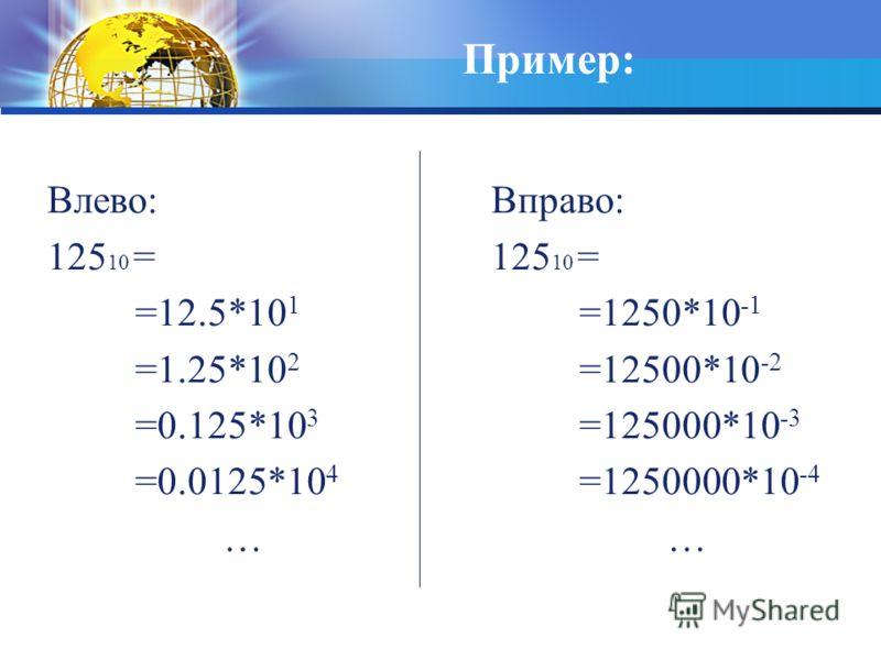 Пример: Влево: 125 10 = =12.5*10 1 =1.25*10 2 =0.125*10 3 =0.0125*10 4 … Вправо: 125 10 = =1250*10 -1 =12500*10 -2 =125000*10 -3 =1250000*10 -4 …