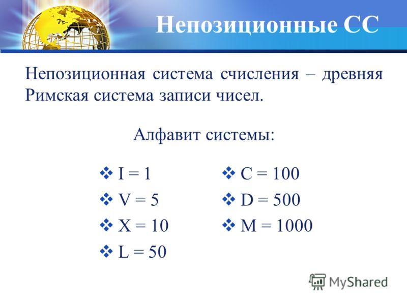 Непозиционные СС I = 1 V = 5 Х = 10 L = 50 С = 100 D = 500 М = 1000 Непозиционная система счисления – древняя Римская система записи чисел. Алфавит системы: