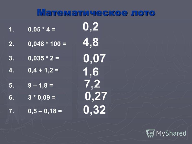 6. Чтобы умножить десятичную дробь на 100 нужно в этой дроби перенести запятую на две цифры влево; 7. При округлении десятичной дроби до сотых в дробной части должно быть три цифры; 8. Если число округляют до какого-либо разряда, то все следующие за
