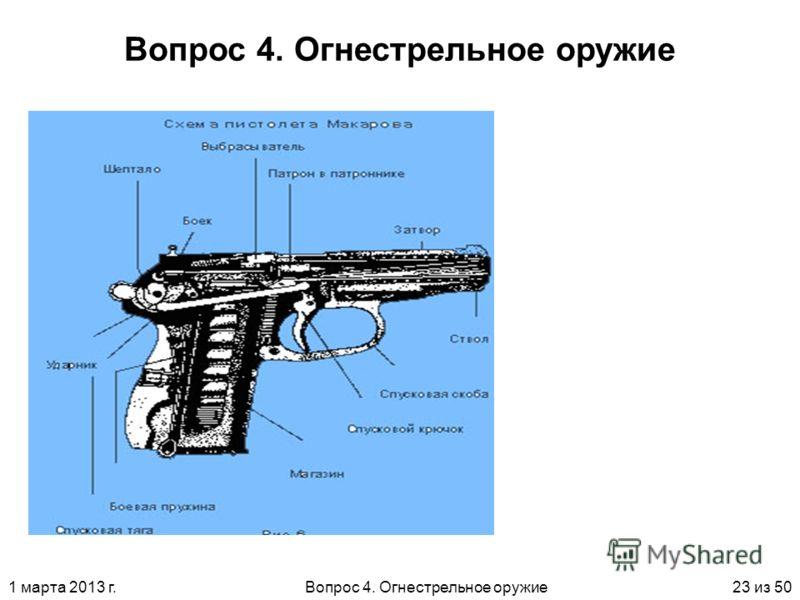 1 марта 2013 г.Вопрос 4. Огнестрельное оружие23 из 50 Вопрос 4. Огнестрельное оружие