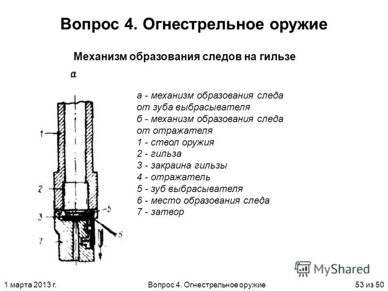1 марта 2013 г.Вопрос 4. Огнестрельное оружие53 из 50 Вопрос 4. Огнестрельное оружие Механизм образования следов на гильзе а - механизм образования следа от зуба выбрасывателя б - механизм образования следа от отражателя 1 - ствол оружия 2 - гильза 3