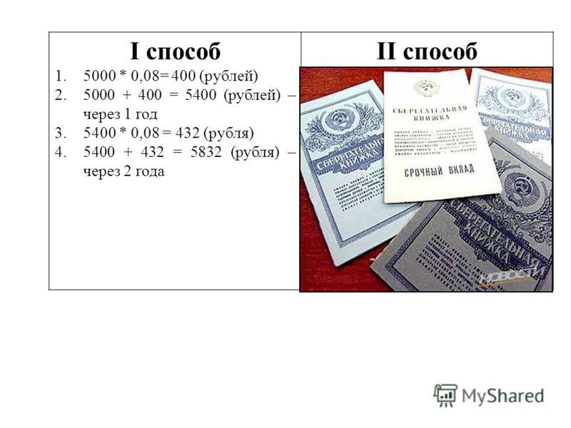 I способ 1.5000 * 0,08= 400 (рублей) 2.5000 + 400 = 5400 (рублей) – через 1 год 3.5400 * 0,08 = 432 (рубля) 4.5400 + 432 = 5832 (рубля) – через 2 года II способ 1.5000 * 1,08 = 5400 (рублей) – через 1 год 2.(5000 * 1,08) *1,08 = 5000 * 1,08² = 5832 (