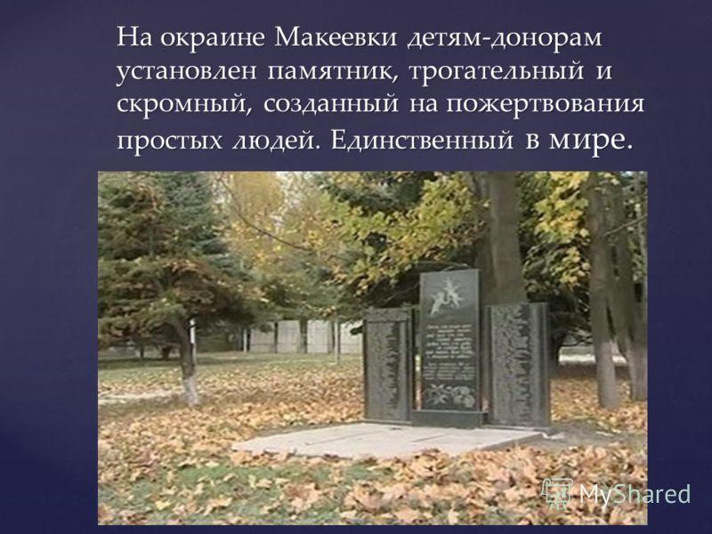 На окраине Макеевки детям-донорам установлен памятник, трогательный и скромный, созданный на пожертвования простых людей. Единственный в мире.