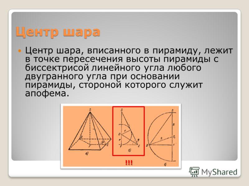Центр шара Центр шара, вписанного в пирамиду, лежит в точке пересечения высоты пирамиды с биссектрисой линейного угла любого двугранного угла при основании пирамиды, стороной которого служит апофема. !!!