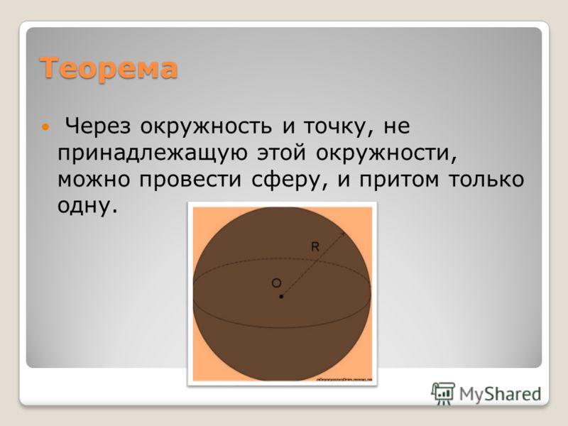 Теорема Через окружность и точку, не принадлежащую этой окружности, можно провести сферу, и притом только одну.