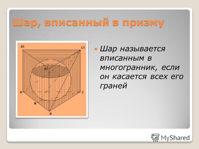 Шар, вписанный в призму Шар называется вписанным в многогранник, если он касается всех его граней