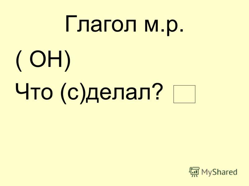 Глагол м.р. ( ОН) Что (с)делал?
