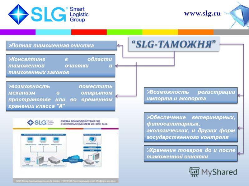www.slg.ru Полная таможенная очистка Возможность регистрации импорта и экспорта возможность поместить механизм в открытом пространстве или во временном хранении класса