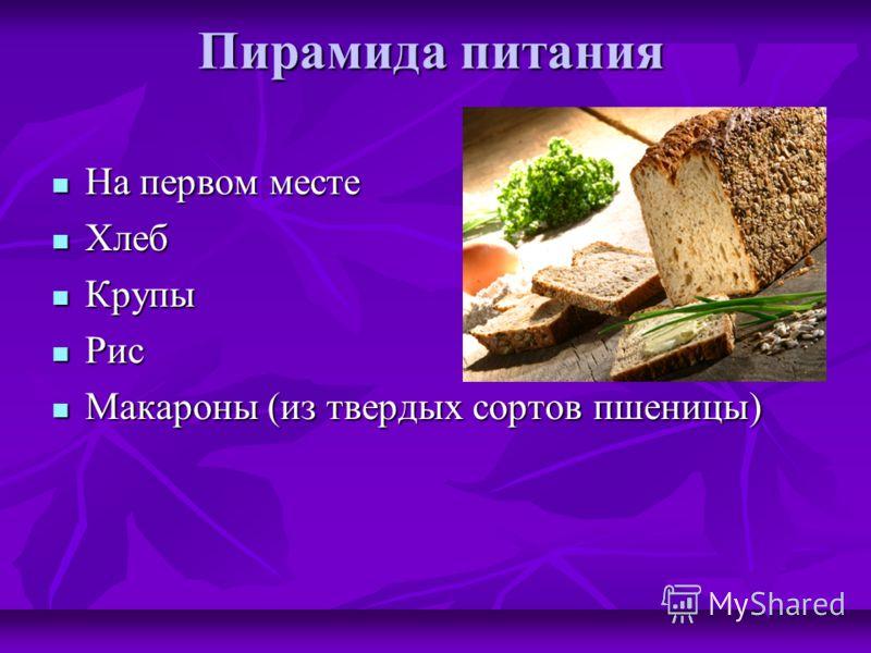 Пирамида питания На первом месте На первом месте Хлеб Хлеб Крупы Крупы Рис Рис Макароны (из твердых сортов пшеницы) Макароны (из твердых сортов пшеницы)