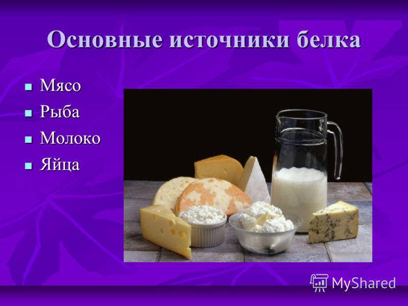 Основные источники белка Мясо Мясо Рыба Рыба Молоко Молоко Яйца Яйца