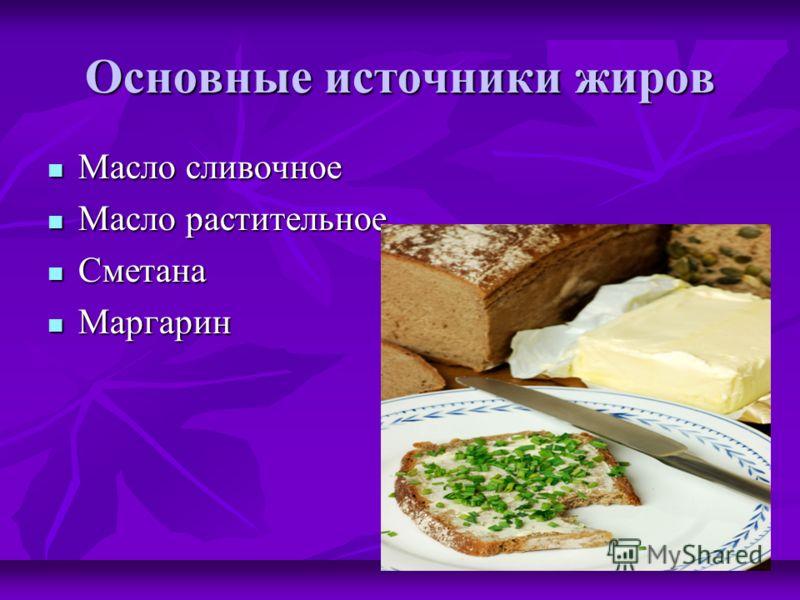 Основные источники жиров Масло сливочное Масло сливочное Масло растительное Масло растительное Сметана Сметана Маргарин Маргарин