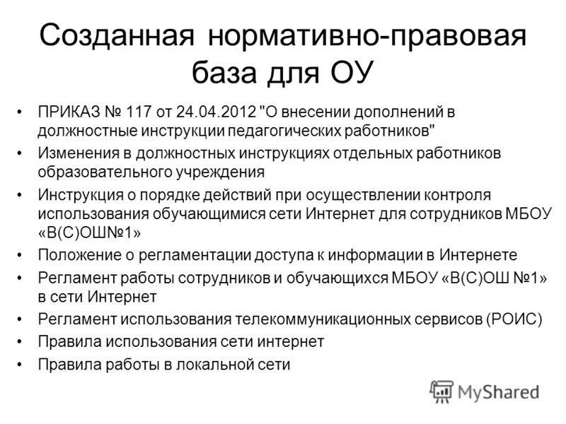 Созданная нормативно-правовая база для ОУ ПРИКАЗ 117 от 24.04.2012