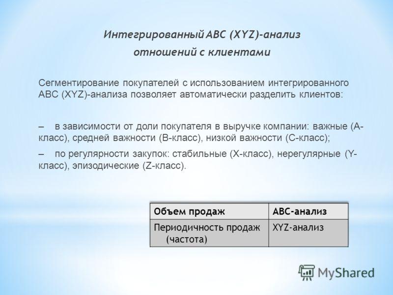 Интегрированный ABC (XYZ)-анализ отношений с клиентами Сегментирование покупателей с использованием интегрированного ABC (XYZ)-анализа позволяет автоматически разделить клиентов: – в зависимости от доли покупателя в выручке компании: важные (А- класс