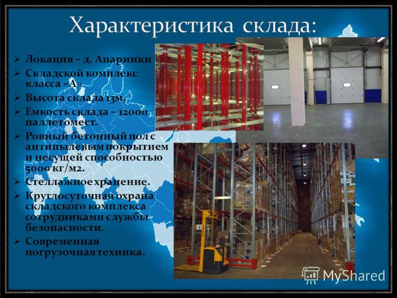 Локация – д. Апаринки Складской комплекс класса «А» Высота склада 13м. Емкость склада – 12000 паллетомест. Ровный бетонный пол с антипылевым покрытием и несущей способностью 5000 кг/м2. Стеллажное хранение. Круглосуточная охрана складского комплекса