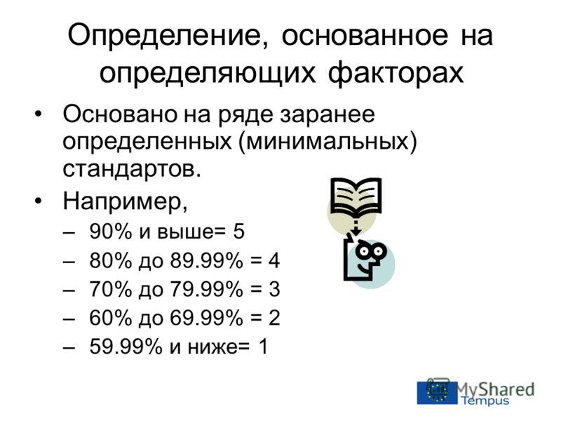 Определение, основанное на определяющих факторах Основано на ряде заранее определенных (минимальных) стандартов. Например, –90% и выше= 5 –80% до 89.99% = 4 –70% до 79.99% = 3 –60% до 69.99% = 2 –59.99% и ниже= 1
