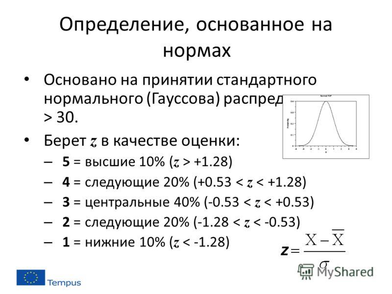 Определение, основанное на нормах Основано на принятии стандартного нормального (Гауссова) распределения с n > 30. Берет z в качестве оценки: – 5 = высшие 10% ( z > +1.28) – 4 = следующие 20% (+0.53 < z < +1.28) – 3 = центральные 40% (-0.53 < z < +0.