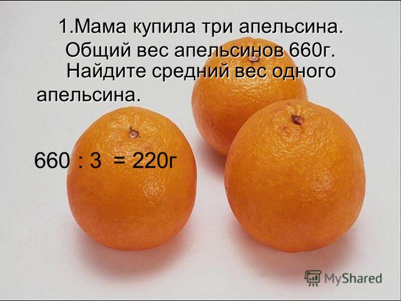 1.Мама купила три апельсина. Общий вес апельсинов 660г. Найдите средний вес одного апельсина. Найдите средний вес одного апельсина. 660 : 3= 220г