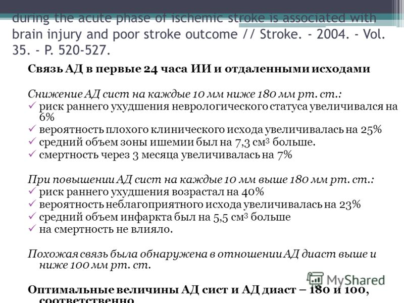 Castillo J., Leira R., Garcia M., et al. Blood pressure decrease during the acute phase of ischemic stroke is associated with brain injury and poor stroke outcome // Stroke. - 2004. - Vol. 35. - P. 520-527. Связь АД в первые 24 часа ИИ и отдаленными
