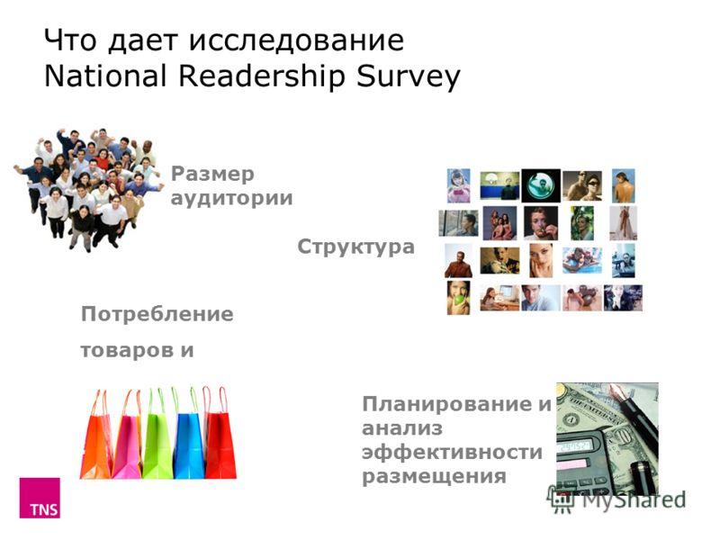Что дает исследование National Readership Survey Размер аудитории Структура Потребление товаров и услуг Планирование и анализ эффективности размещения