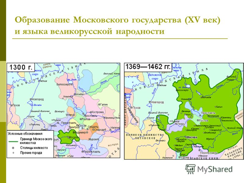 Образование Московского государства (XV век) и языка великорусской народности
