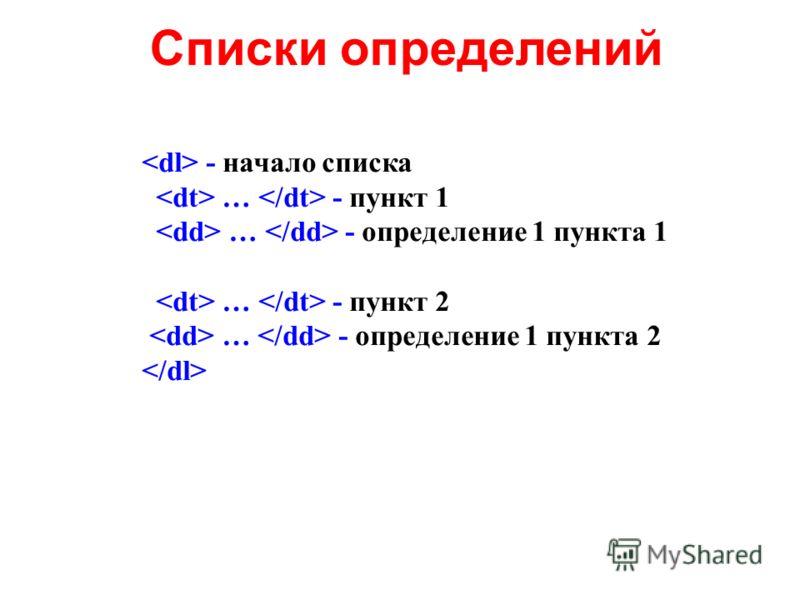 Списки определений - начало списка … - пункт 1 … - определение 1 пункта 1 … - пункт 2 … - определение 1 пункта 2