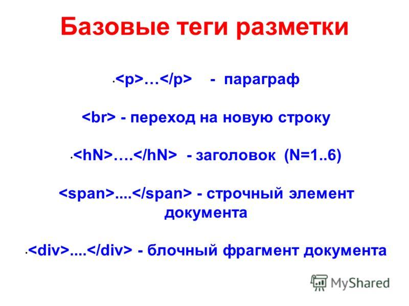 Базовые теги разметки … - параграф - переход на новую строку …. - заголовок (N=1..6).... - строчный элемент документа.... - блочный фрагмент документа
